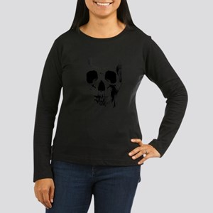 Skull Face Women's Long Sleeve Dark T-Shirt