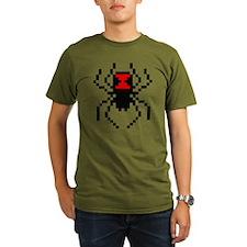 Pixel Black Widow Spider Organic Men's T-Shirt (da