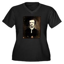 Vintage Poe Portrait Women's Plus Size V-Neck Dark