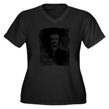 Poe On Raven Pattern Women's Plus Size V-Neck Dark