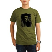 Poe On Raven Pattern Organic Men's T-Shirt (dark)