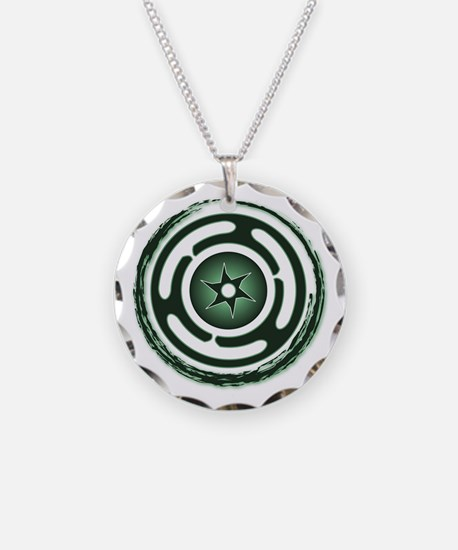 Green Hecate's Wheel Necklace