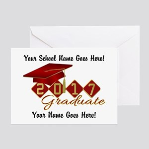 Graduate 2017 Red Gold Greeting Cards
