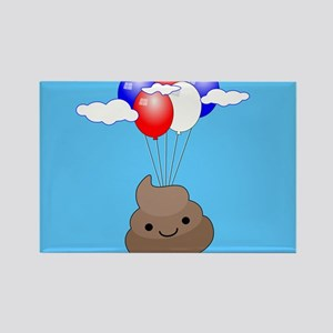 Poo Emoji Flying With Balloons In Blue Sky Magnets