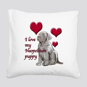 Neopolitan Puppy Love Square Canvas Pillow