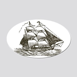 Vintage Sail Ship 20x12 Oval Wall Decal