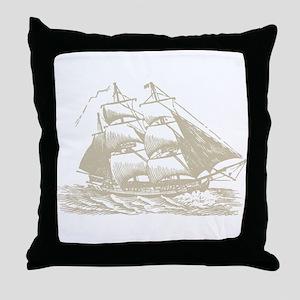 Vintage Sail Ship Throw Pillow