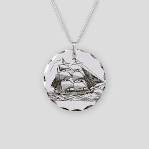 Vintage Sail Ship Necklace Circle Charm
