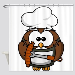 Owl Chef Shower Curtain