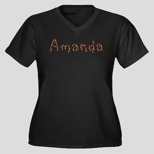 Amanda Coffee Beans Women's Plus Size V-Neck Dark