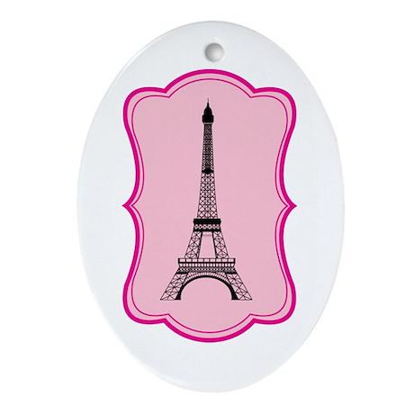 Eiffel Tower on Pink Flourish Ornament (Oval)