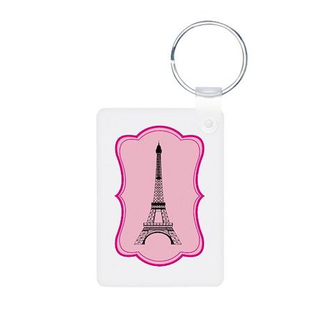 Eiffel Tower on Pink Flourish Aluminum Photo Keych