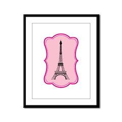 Eiffel Tower on Pink Flourish Framed Panel Print