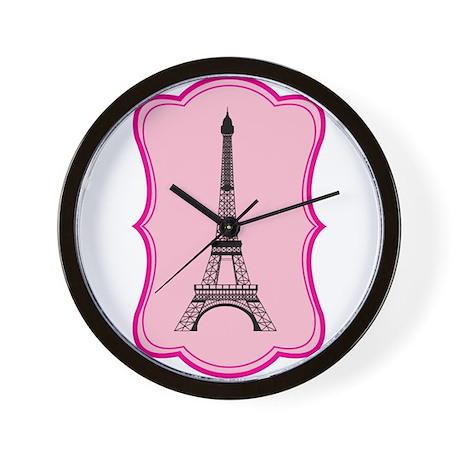 Eiffel Tower on Pink Flourish Wall Clock