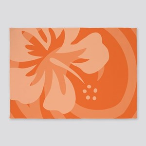 Hibiscus Orange 5'x7'Area Rug