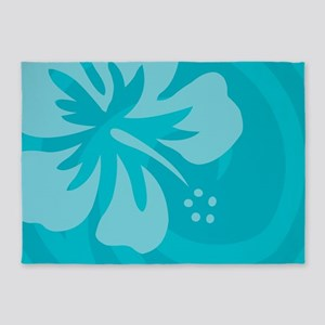 Hibiscus Light Blue 5'x7'Area Rug