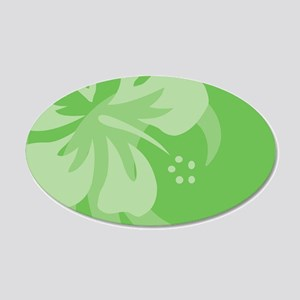 Hibiscus Green 35x21 Oval Wall Decal