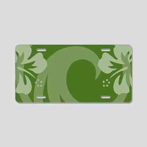 Hibiscus Dark Green Aluminum License Plate