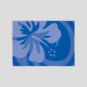 Hibiscus Blue 5'x7'Area Rug
