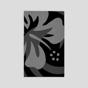 Hibiscus Black 3'x5' Area Rug