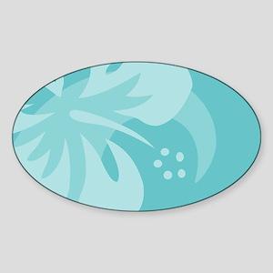 Hibiscus Aqua Sticker (Oval)