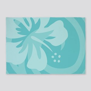 Hibiscus Aqua 5'x7'Area Rug