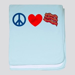 Peace Love and Bacon Strips baby blanket