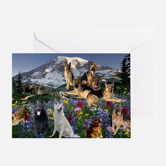 Cute German shepherds Greeting Card