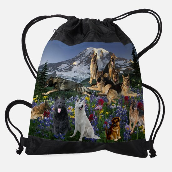 German Shepherd Country Drawstring Bag