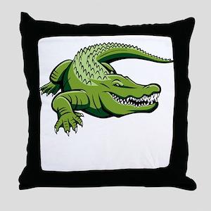 Green Alligator Throw Pillow
