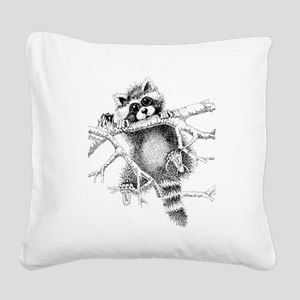 Raccoon Play Square Canvas Pillow
