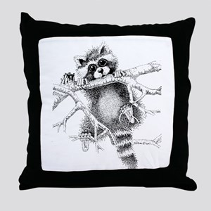 Raccoon Play Throw Pillow