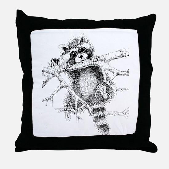 Raccoon Play Throw Pillow