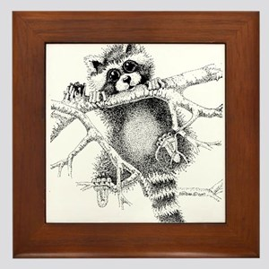 Raccoon Play Framed Tile