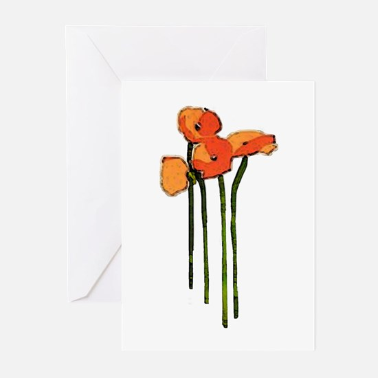 poppies thank you Greeting Cards (Pk of 10)