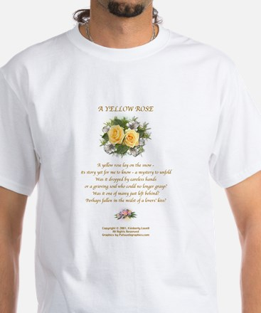 Yellow Rose Design 2 White T-Shirt