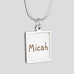 Micah Coffee Beans Silver Square Necklace
