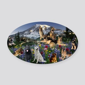 German Shepherd Country Oval Car Magnet