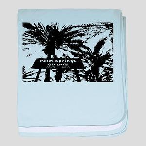BlacknWhite Palm Springs sign baby blanket