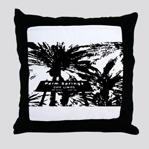 BlacknWhite Palm Springs sign Throw Pillow