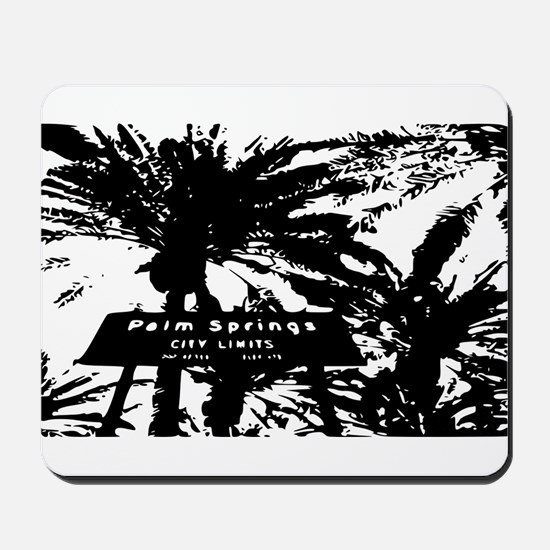BlacknWhite Palm Springs sign Mousepad