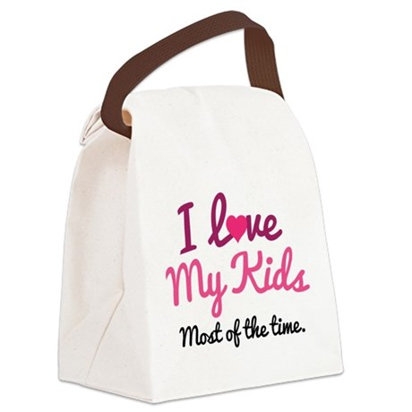 I Love My Kids Canvas Lunch Bag