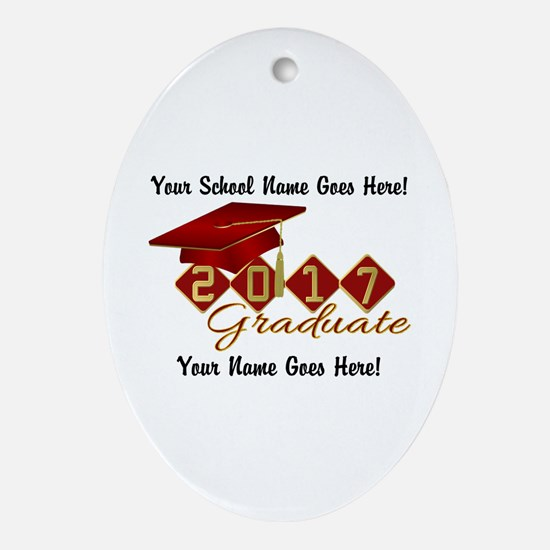 Graduate 2017 Red Gold Oval Ornament