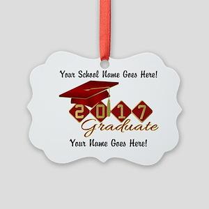 Graduate 2017 Red Gold Picture Ornament