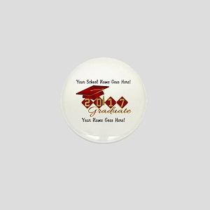 Graduate 2017 Red Gold Mini Button