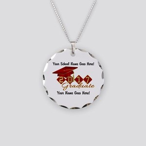 Graduate 2017 Red Gold Necklace Circle Charm