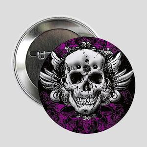 """Grunge Skull 2.25"""" Button"""