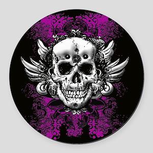 Grunge Skull Round Car Magnet