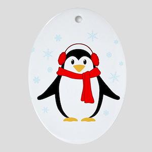 Winter Penguin Ornament (Oval)