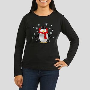 Winter Penguin Women's Long Sleeve Dark T-Shirt